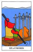 Six of Swords Tarot card in Gummy Bear Tarot deck