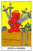 Seven of Swords Tarot card in Gummy Bear Tarot deck