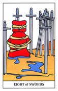 Eight of Swords Tarot card in Gummy Bear Tarot deck