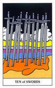 Ten of Swords Tarot card in Gummy Bear Tarot deck
