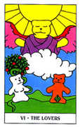 The Lovers Tarot card in Gummy Bear deck