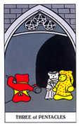 Three of Coins Tarot card in Gummy Bear Tarot deck