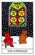 Five of Coins Tarot card in Gummy Bear Tarot deck