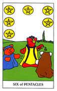 Six of Coins Tarot card in Gummy Bear Tarot deck