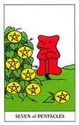 Seven of Coins Tarot card in Gummy Bear Tarot deck