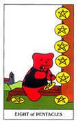 Eight of Coins Tarot card in Gummy Bear Tarot deck
