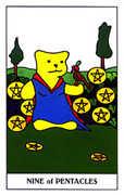 Nine of Coins Tarot card in Gummy Bear Tarot deck