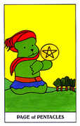 Page of Coins Tarot card in Gummy Bear Tarot deck
