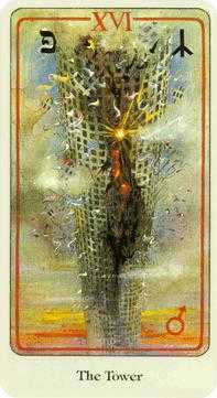 The Falling Tower Tarot Card - Haindl Tarot Deck