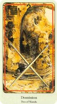 Two of Rods Tarot Card - Haindl Tarot Deck
