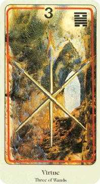 Three of Rods Tarot Card - Haindl Tarot Deck