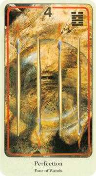 Four of Staves Tarot Card - Haindl Tarot Deck