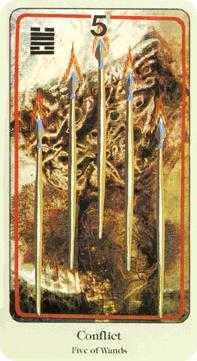 Five of Rods Tarot Card - Haindl Tarot Deck