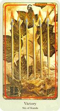 Six of Rods Tarot Card - Haindl Tarot Deck