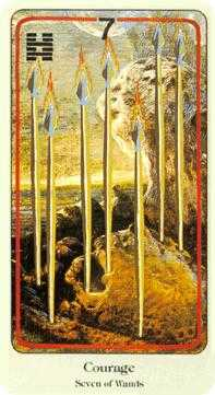 Seven of Staves Tarot Card - Haindl Tarot Deck