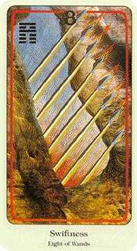 Eight of Staves Tarot Card - Haindl Tarot Deck