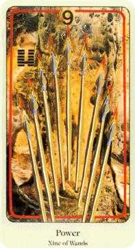 Nine of Rods Tarot Card - Haindl Tarot Deck