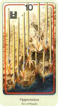 Ten of Rods Tarot Card - Haindl Tarot Deck