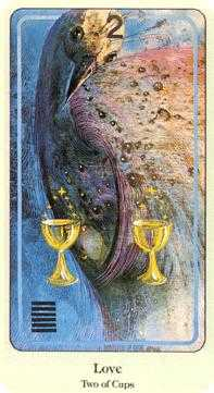 Two of Cups Tarot Card - Haindl Tarot Deck