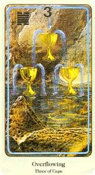 Three of Bowls Tarot Card - Haindl Tarot Deck