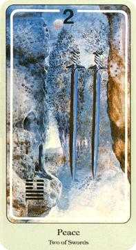 Two of Wind Tarot Card - Haindl Tarot Deck