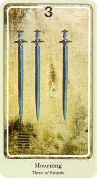 Three of Bats Tarot Card - Haindl Tarot Deck
