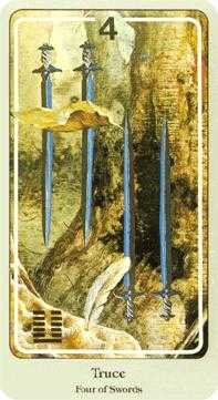 Four of Bats Tarot Card - Haindl Tarot Deck