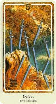 Five of Wind Tarot Card - Haindl Tarot Deck