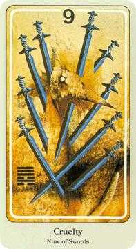 Nine of Arrows Tarot Card - Haindl Tarot Deck