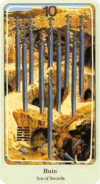 Ten of Arrows Tarot Card - Haindl Tarot Deck