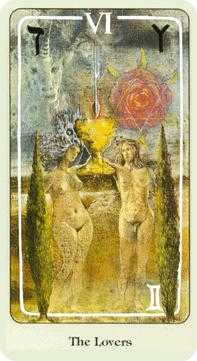 The Lovers Tarot Card - Haindl Tarot Deck