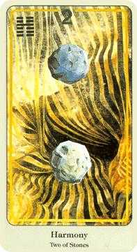 Two of Stones Tarot Card - Haindl Tarot Deck