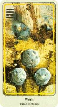 Three of Stones Tarot Card - Haindl Tarot Deck