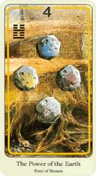 Four of Stones Tarot Card - Haindl Tarot Deck