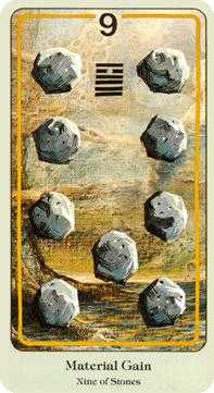 Nine of Pentacles Tarot Card - Haindl Tarot Deck