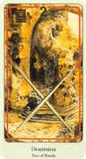 Two of Wands Tarot card in Haindl Tarot deck