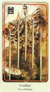 Five of Wands Tarot card in Haindl Tarot deck