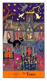 The Falling Tower Tarot Card - Halloween Tarot Deck