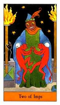 Two of Imps Tarot Card - Halloween Tarot Deck