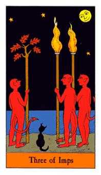 Three of Batons Tarot Card - Halloween Tarot Deck