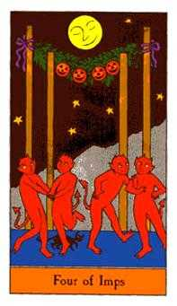 Four of Imps Tarot Card - Halloween Tarot Deck