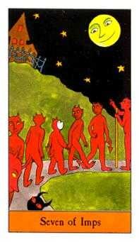 Seven of Rods Tarot Card - Halloween Tarot Deck