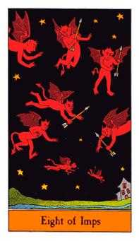 Eight of Imps Tarot Card - Halloween Tarot Deck