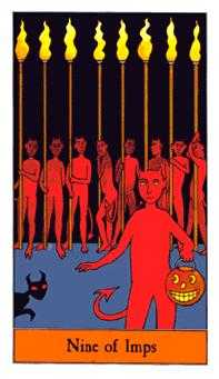 Nine of Imps Tarot Card - Halloween Tarot Deck