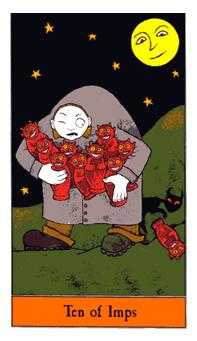 Ten of Pipes Tarot Card - Halloween Tarot Deck