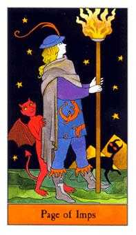 Valet of Batons Tarot Card - Halloween Tarot Deck