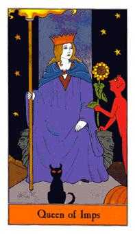 Queen of Rods Tarot Card - Halloween Tarot Deck