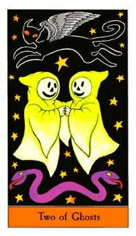 Two of Ghosts Tarot Card - Halloween Tarot Deck