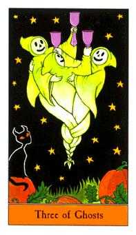 Three of Ghosts Tarot Card - Halloween Tarot Deck