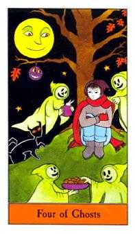 Four of Ghosts Tarot Card - Halloween Tarot Deck
